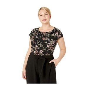 Nine West Womens Knit Floral Jewel Neck Top Plus